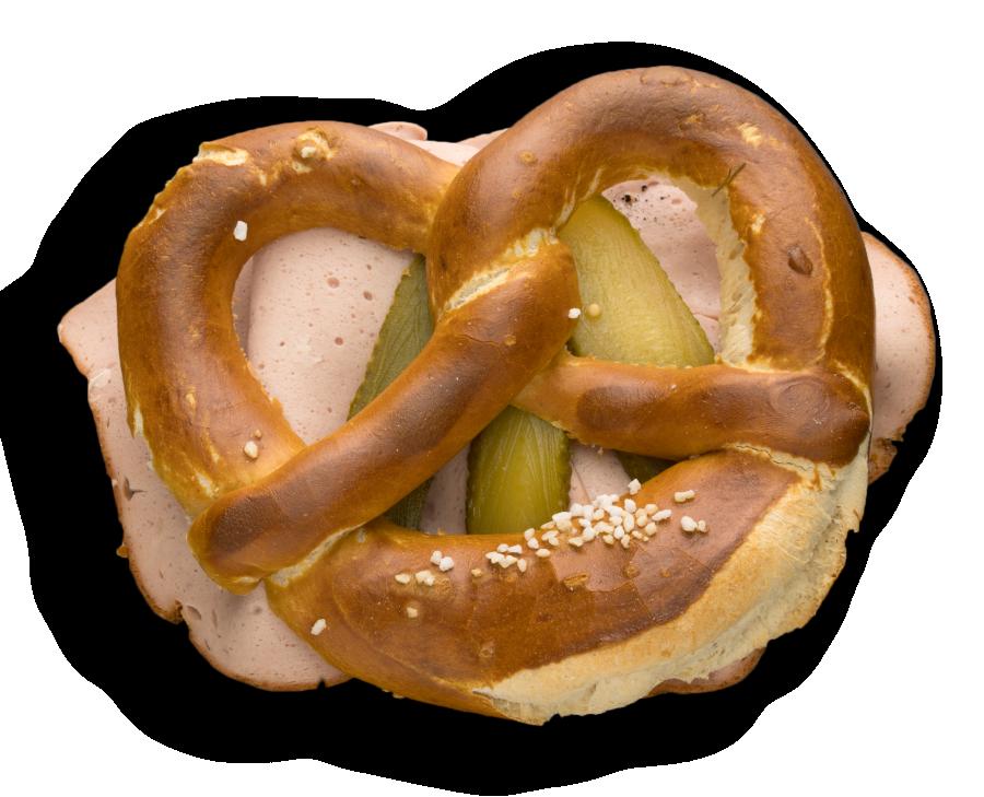 Snackbreze mit Leberkäse