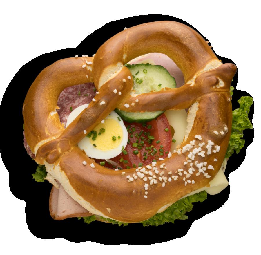 Snackbreze mit Wurst-Käse